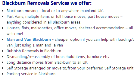Blackburn Removals Blackburn Man and Van Tel 01706 330310 Cheap Removals Blackburn